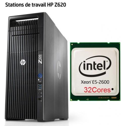 stations de travail HP Z620 Xeon E5 32cores 64go mémoire